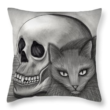 Throw Pillow featuring the drawing Witch's Cat Eyes by Carrie Hawks