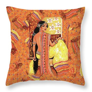 Bharat Throw Pillow by Eva Campbell