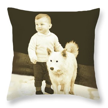 Sweet Vintage Toddler With His White Mutt Throw Pillow