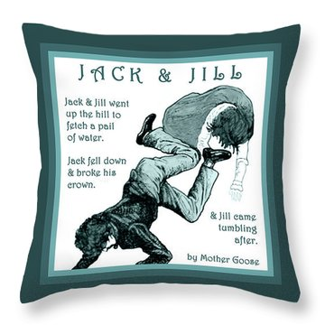 Jack And Jill Vintage Mother Goose Nursery Rhyme Throw Pillow