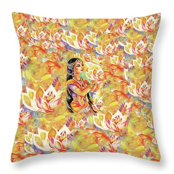 Pray Of The Lotus River Throw Pillow