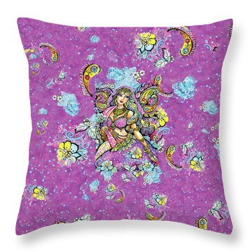 Purple Paisley Flower  Throw Pillow