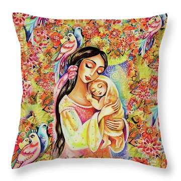 Little Angel Dreaming Throw Pillow by Eva Campbell
