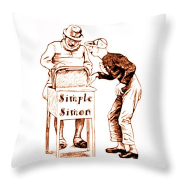 Simple Simon Mother Goose Vintage Nursery Rhyme Throw Pillow