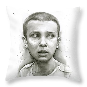 Stranger Things Eleven Upside Down Art Portrait Throw Pillow by Olga Shvartsur