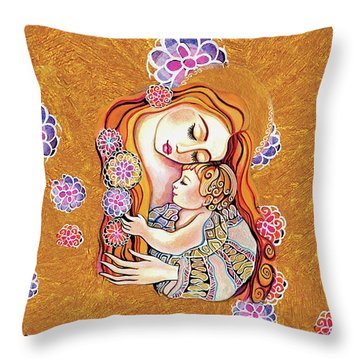 Little Angel Sleeping Throw Pillow by Eva Campbell