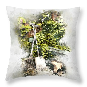Throw Pillow featuring the digital art Garden Seat by Shanina Conway