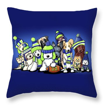 12 Dogs On Blue Throw Pillow by Kim Niles