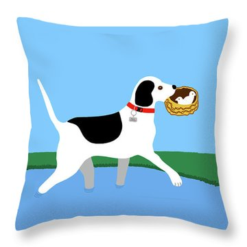 Cartoon Hero Hound Rescues Two Baby Birds Throw Pillow