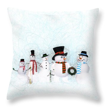 Throw Pillow featuring the painting Snowmen by Methune Hively