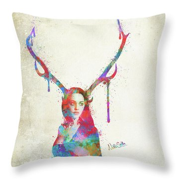 Throw Pillow featuring the digital art Song Of Elen Of The Ways Antlered Goddess by Nikki Marie Smith
