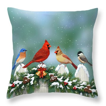 Winter Birds And Christmas Garland Throw Pillow