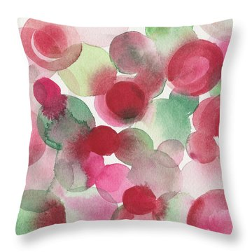 Red Pink Green Abstract Watercolor Throw Pillow