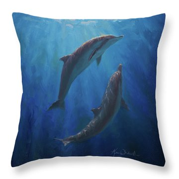Throw Pillow featuring the painting Dolphin Dance - Underwater Whales by Karen Whitworth