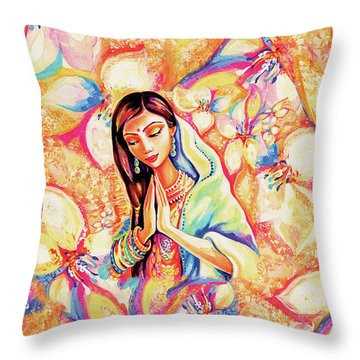 Throw Pillow featuring the painting Little Himalayan Pray by Eva Campbell