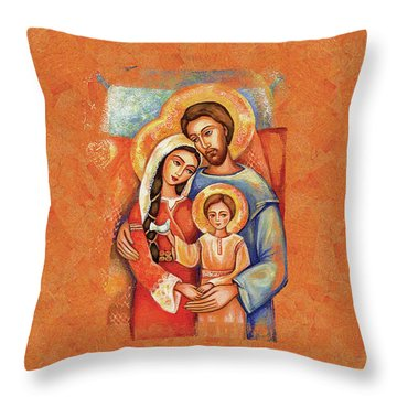 The Holy Family Throw Pillow by Eva Campbell