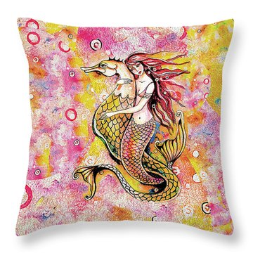 Black Sea Mermaid Throw Pillow by Eva Campbell