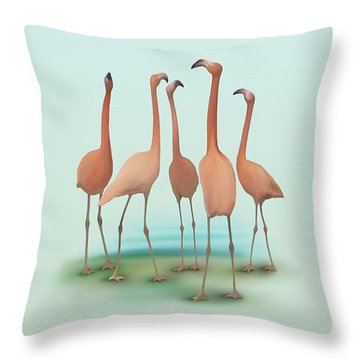 Flamingo Mingle Throw Pillow