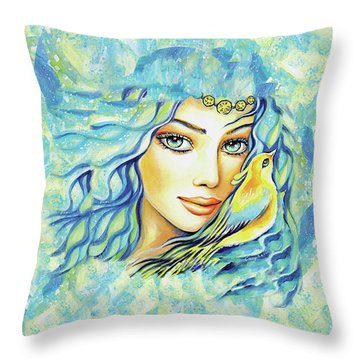 Throw Pillow featuring the painting Bird Of Secrets by Eva Campbell