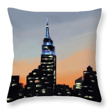 Empire State Building Ombre New York Skyline Throw Pillow