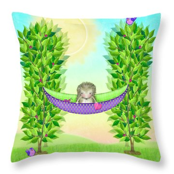 H Is For Hedgehog And Hammock Throw Pillow