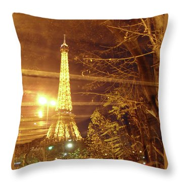 Eiffel Tower By Bus Tour Throw Pillow by Felipe Adan Lerma