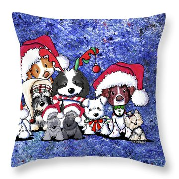 Kiniart Christmas Party Throw Pillow by Kim Niles
