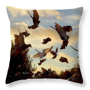 Birds And Fun At Butler Park Austin - Birds 1 Throw Pillow by Felipe Adan Lerma