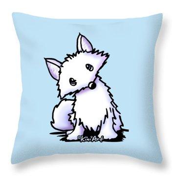 Arctic Fox Throw Pillow by Kim Niles