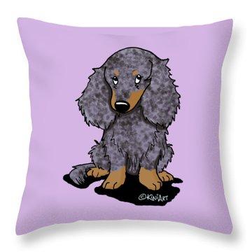 Dapple Doxie Throw Pillow by Kim Niles