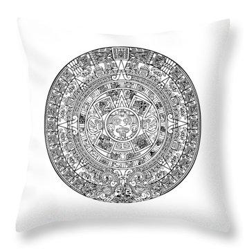 Aztec Sun Throw Pillow by Taylan Apukovska