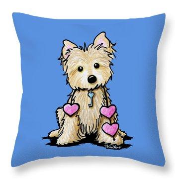 Heartstrings Cairn Terrier Throw Pillow by Kim Niles