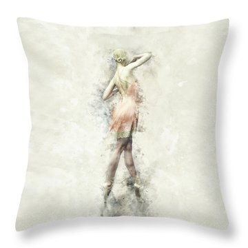 Throw Pillow featuring the digital art Ballet Dancer by Shanina Conway