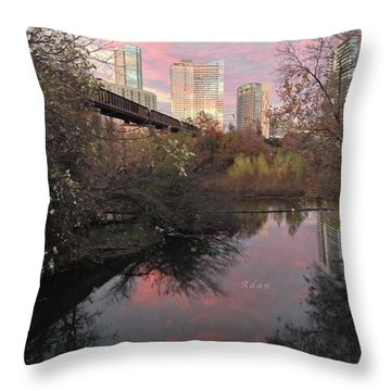 Austin Hike And Bike Trail - Train Trestle 1 Sunset Triptych Right Throw Pillow by Felipe Adan Lerma