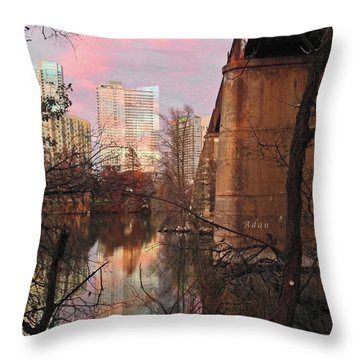 Austin Hike And Bike Trail - Train Trestle 1 Sunset Triptych Middle Throw Pillow by Felipe Adan Lerma