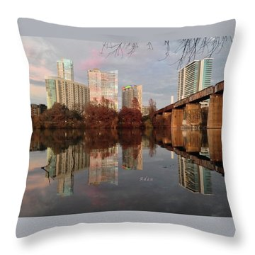 Austin Hike And Bike Trail - Train Trestle 1 Sunset Triptych Left Throw Pillow by Felipe Adan Lerma