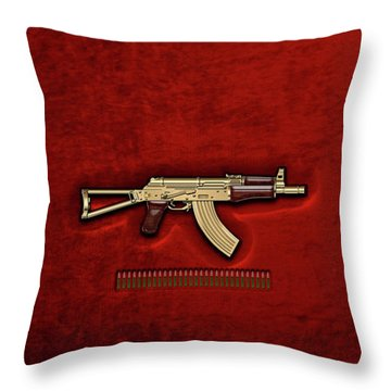 Gold A K S-74 U Assault Rifle With 5.45x39 Rounds Over Red Velvet   Throw Pillow