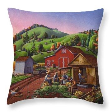 Folk Art Americana - Farmers Shucking Harvesting Corn Farm Landscape - Autumn Rural Country Harvest  Throw Pillow by Walt Curlee