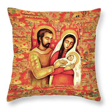 Throw Pillow featuring the painting Holy Family by Eva Campbell