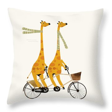 Throw Pillow featuring the painting Lets Tandem Giraffes by Bri B