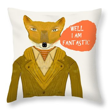 Throw Pillow featuring the painting Well I Am Fantastic by Bri B