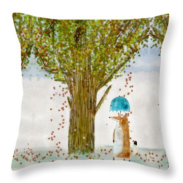 Throw Pillow featuring the painting An Autumns Day by Bri B