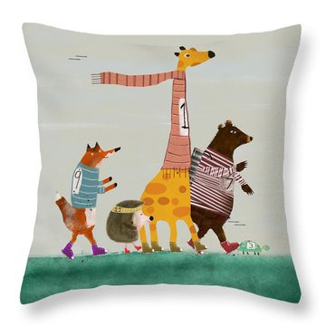 Throw Pillow featuring the painting The Fun Run by Bri B