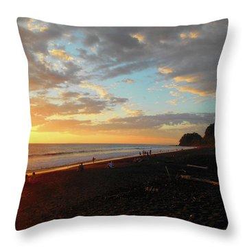 Playa Hermosa Puntarenas Costa Rica - Sunset A One Throw Pillow by Felipe Adan Lerma