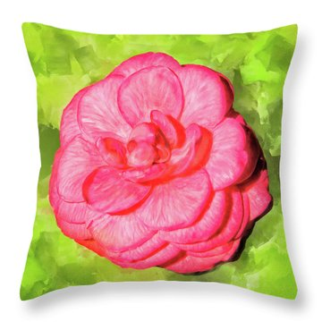 Throw Pillow featuring the mixed media Winter's Rose - The Camellia by Mark Tisdale