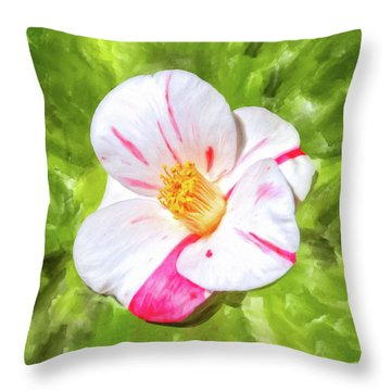 Throw Pillow featuring the mixed media In The Winter Garden - Camellia Blossom by Mark Tisdale