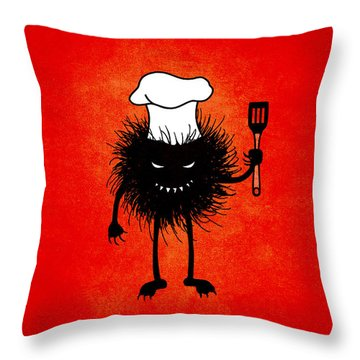 Evil Bug Chef Loves To Cook Throw Pillow