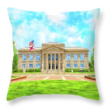 Covington County Courthouse - Andalusia Alabama Throw Pillow