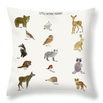 Throw Pillow featuring the painting Little Nature Friends by Bri B