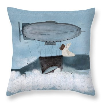 Throw Pillow featuring the painting Barney And The Whale by Bri B